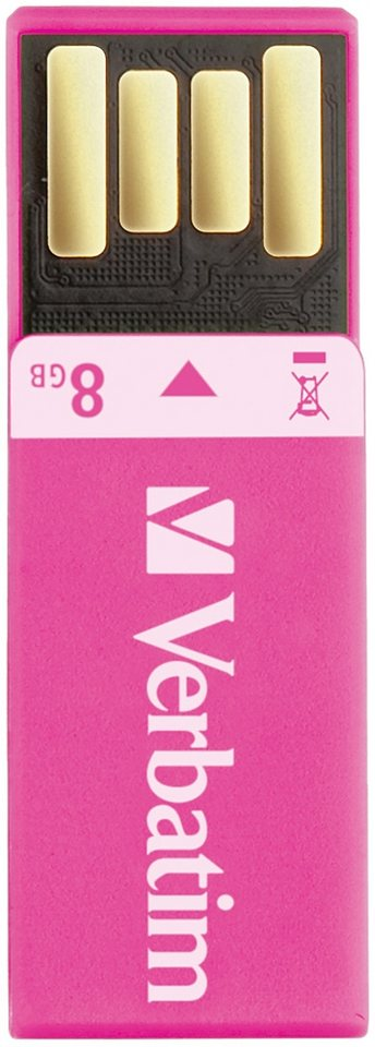 Verbatim USB 2.0 Stick 8GB, Clip-it, pink in pink
