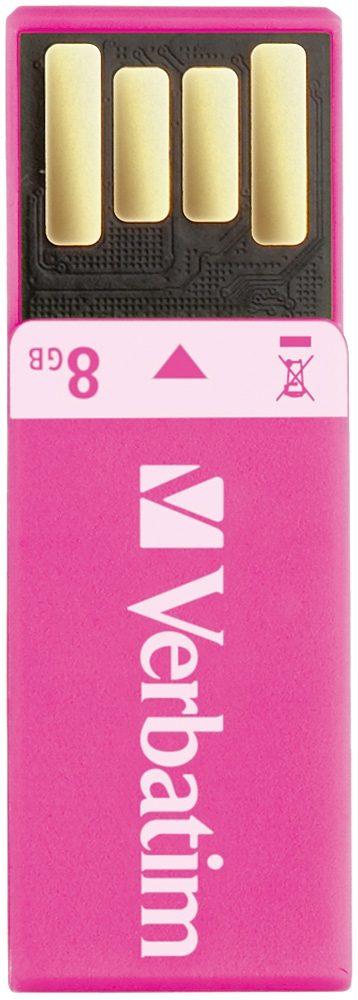 Verbatim USB 2.0 Stick 8GB, Clip-it, pink