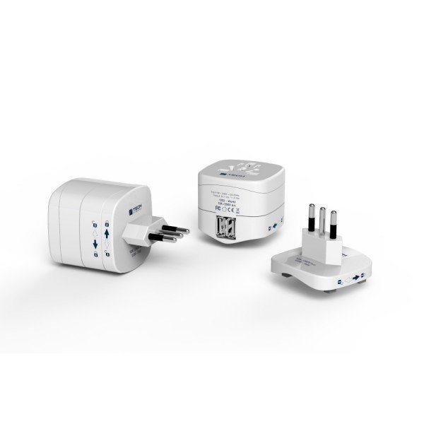 Travel Blue Reiseadapter (Welt nach Italien) mit Doppel USB-Anschluss, weiß