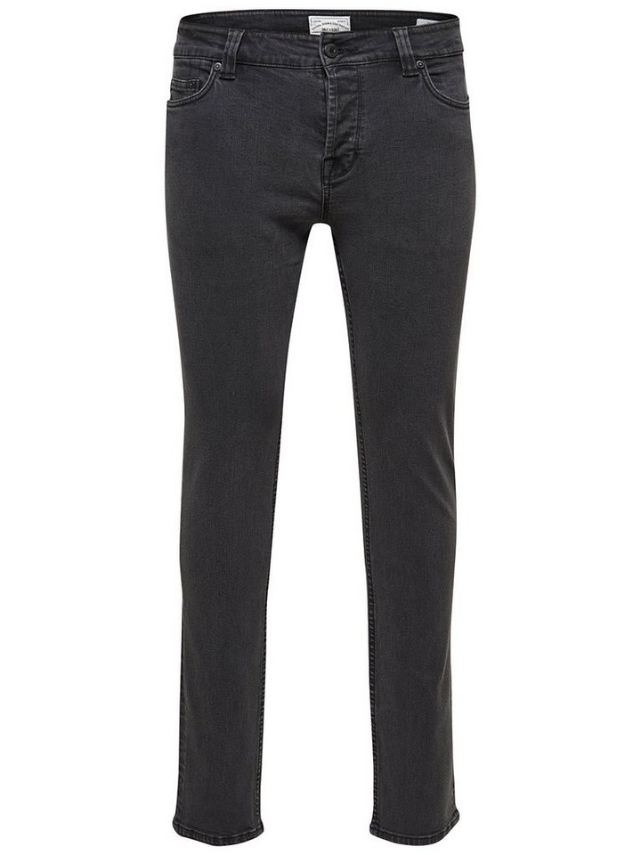 ONLY & SONS Loom dark grey denim Slim Fit Jeans in Dark Grey Denim