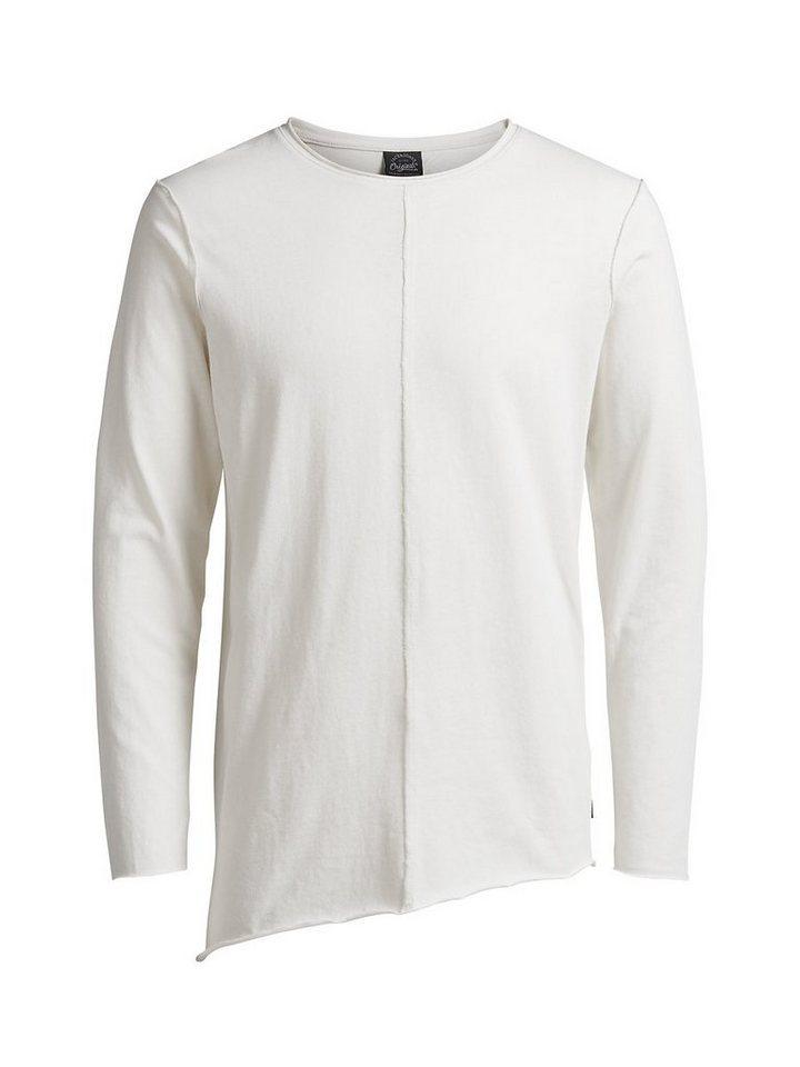 Jack & Jones Lang geschnittenes T-Shirt mit langen Ärmeln in Cloud Dancer