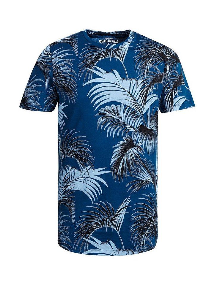Jack & Jones Blumiges T-Shirt in Poseidon