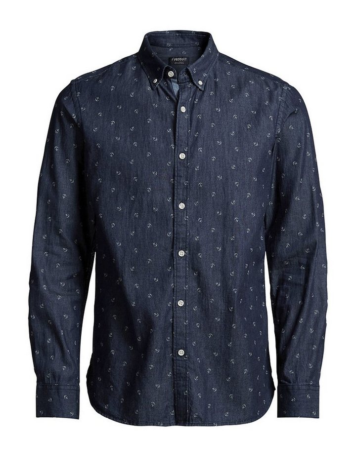 Jack & Jones Klassisches Freizeithemd in Dark Blue Denim 2