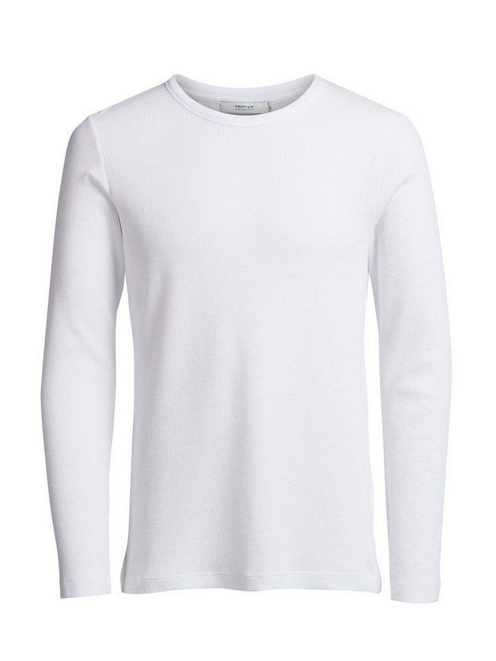 Jack & Jones Waffelpikee- Sweatshirt in White