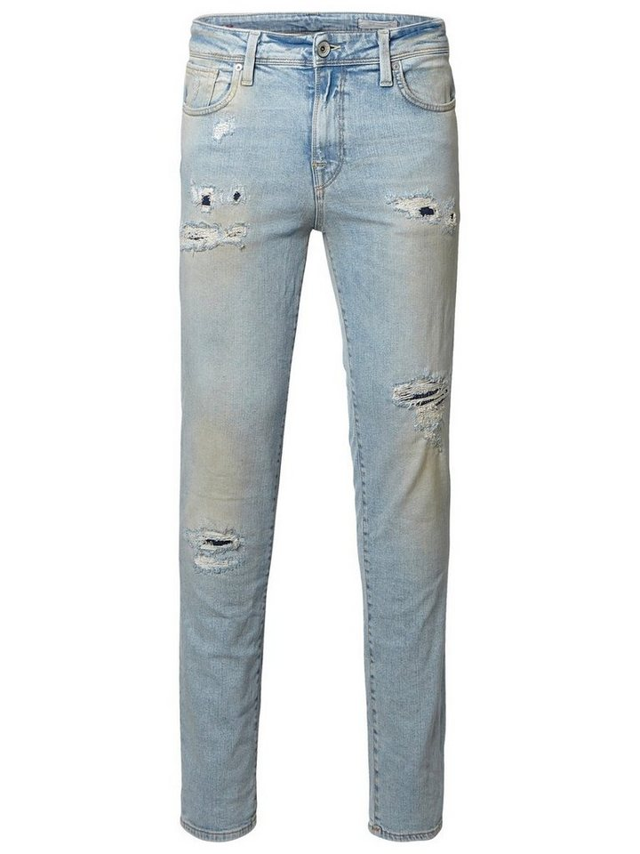 Selected Ripped- Slim Fit Jeans in Light Blue Denim