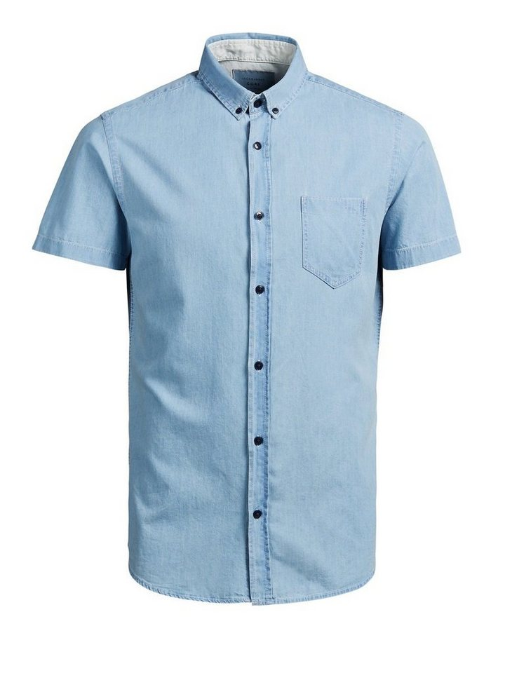 Jack & Jones Markantes Jeans- Kurzarmhemd in Light Blue Denim