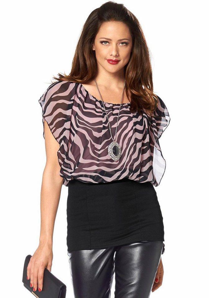 Melrose Blusenshirt mit Animal-Print in rosa-schwarz