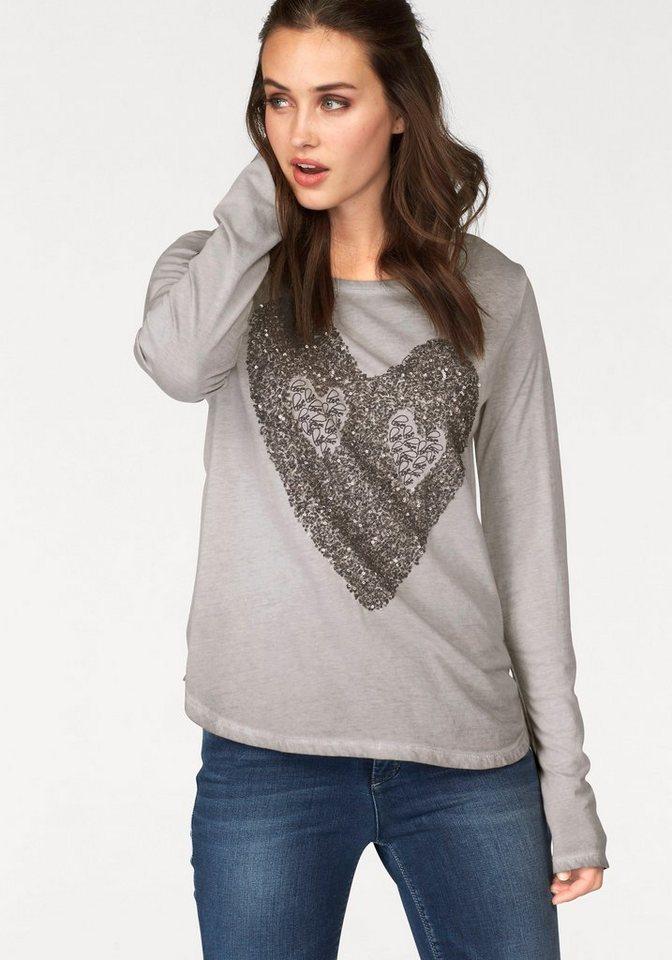 Frogbox Langarmshirt »Sequin Heart« mit Paillettenherz in hellbraun
