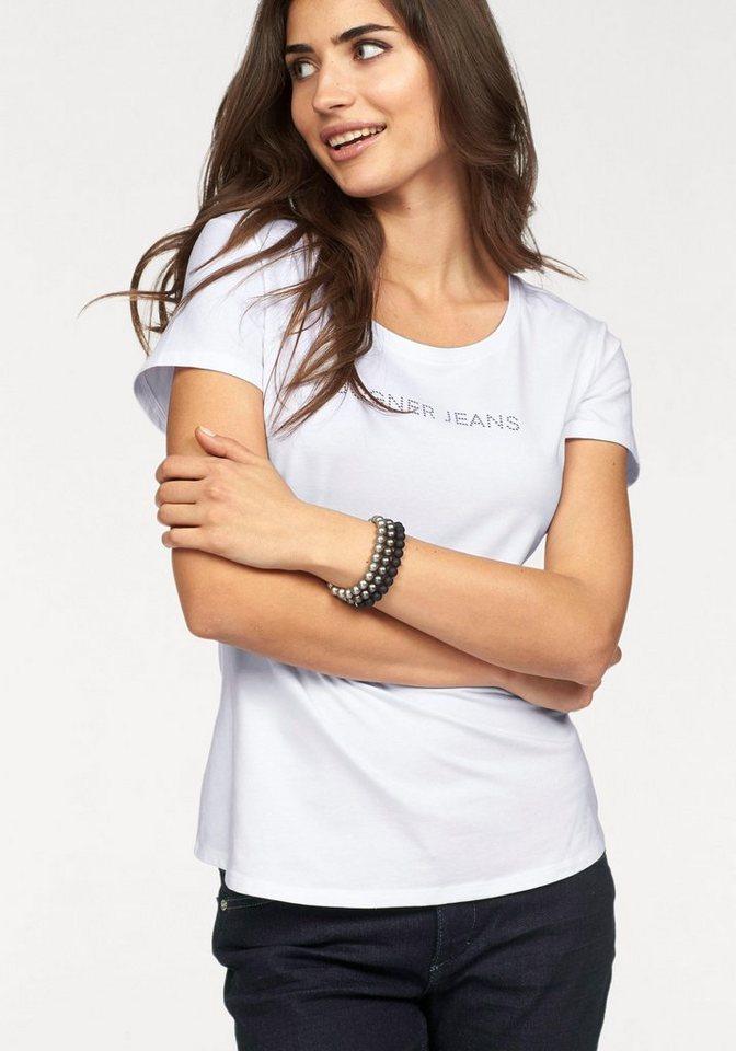 Bogner Jeans Rundhalsshirt mit Logo Glitzersteinchen in weiß