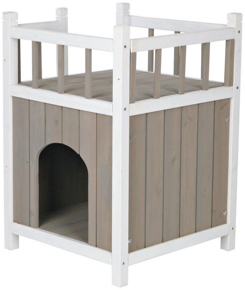Katzenhaus »Cat's Home«, mit Balkon, B/L/H: 45/45/65 cm in taupe/weiß