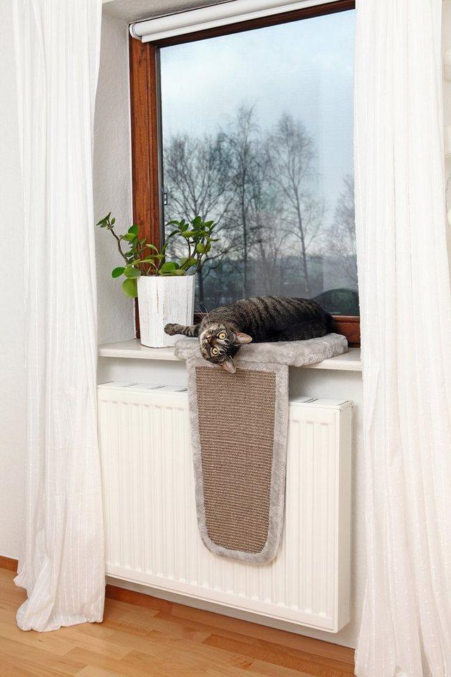 Katzen-Bett, mit Kratzbrett für Fensterbänke, 45/32/62 cm in hellgrau
