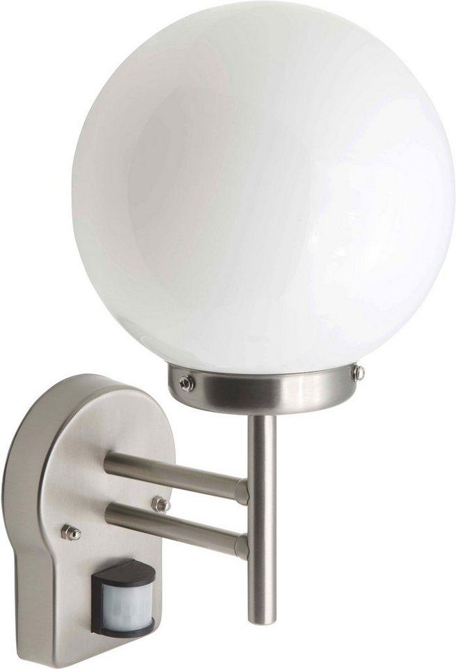 Brilliant LED Außenleuchte, 1 flg., Wandleuchte mit Bewegungsmelder, »AALBORG« in Edelstahl, Glas