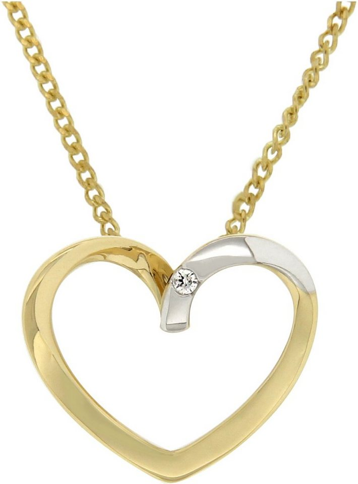 Vivance Jewels Anhänger »Herz« mit Brillant in Gelbgold 333-bicolor