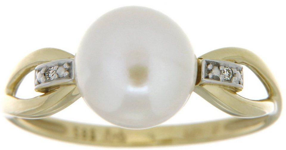 Vivance Jewels Ring mit Süßwasserzuchtperle und Brillanten in Gelbgold 333-weiß