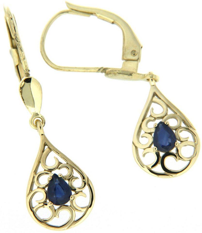 Vivance Jewels Paar Ohrhänger mit Saphiren in Gelbgold 333-blau