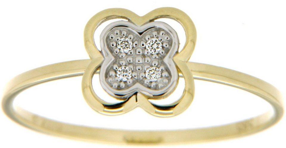 Vivance Jewels Ring »Blume« mit Brillanten in Gelbgold 333-bicolor