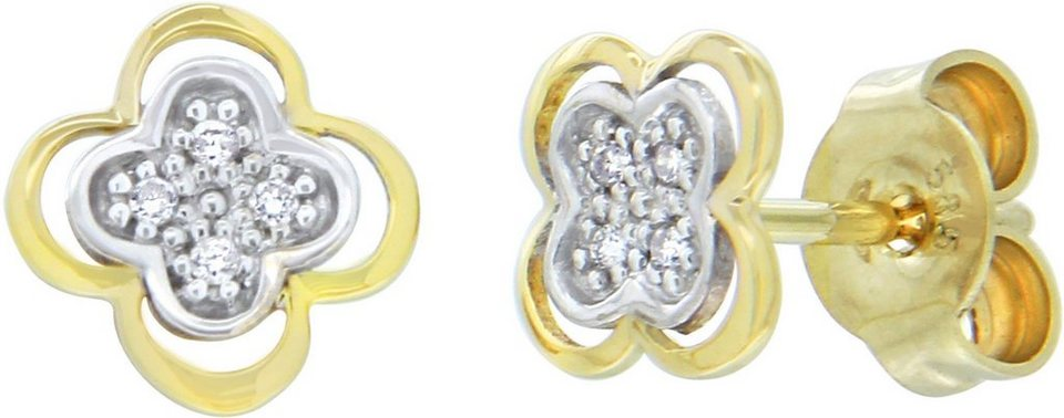 Vivance Jewels Paar Ohrstecker »Blume« mit Brillanten in Gelbgold 333-bicolor