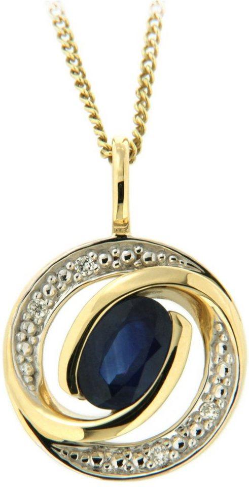 Vivance Jewels Anhänger mit Saphir und Brillanten in Gelbgold 333-bicolor-blau