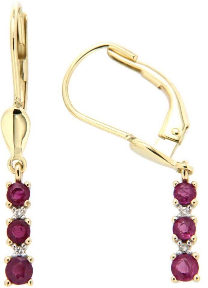 Vivance Jewels Paar Ohrhänger mit Rubinen und Brillanten in Gelbgold 333-rot