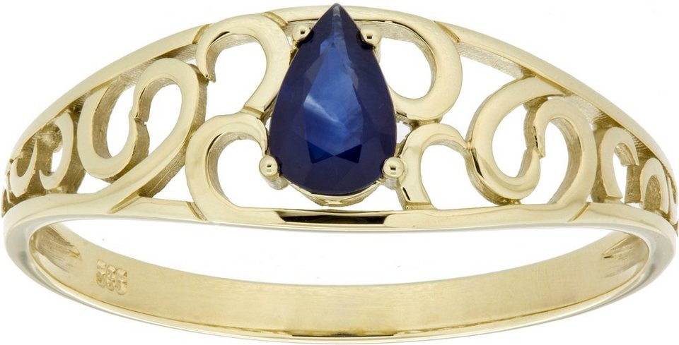 Vivance Jewels Ring mit Saphir in Tropfenform in Gelbgold 333-blau