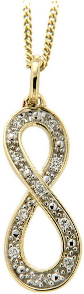 Vivance Jewels Anhänger »Unendlichkeit« mit Brillanten in Gelbgold 333-bicolor