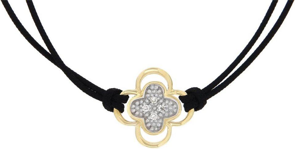 Vivance Jewels Armband »Blume« mit Brillanten in Gelbgold 333-bicolor-schwarz