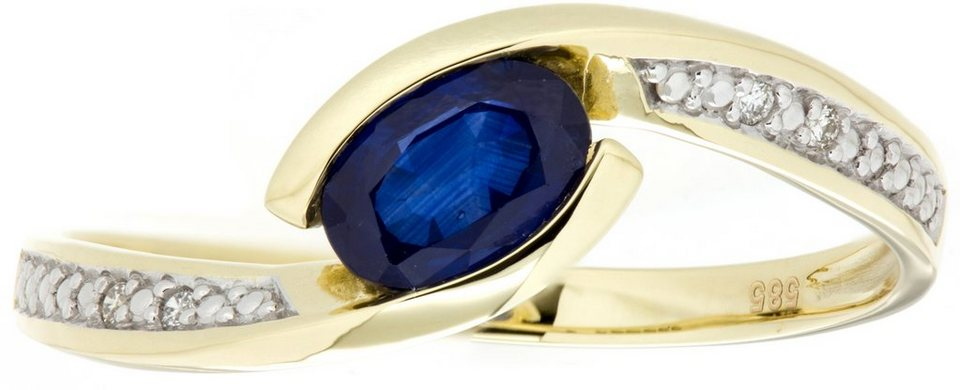 Vivance Jewels Ring mit Saphir und Brillanten in Gelbgold 333-bicolor-blau