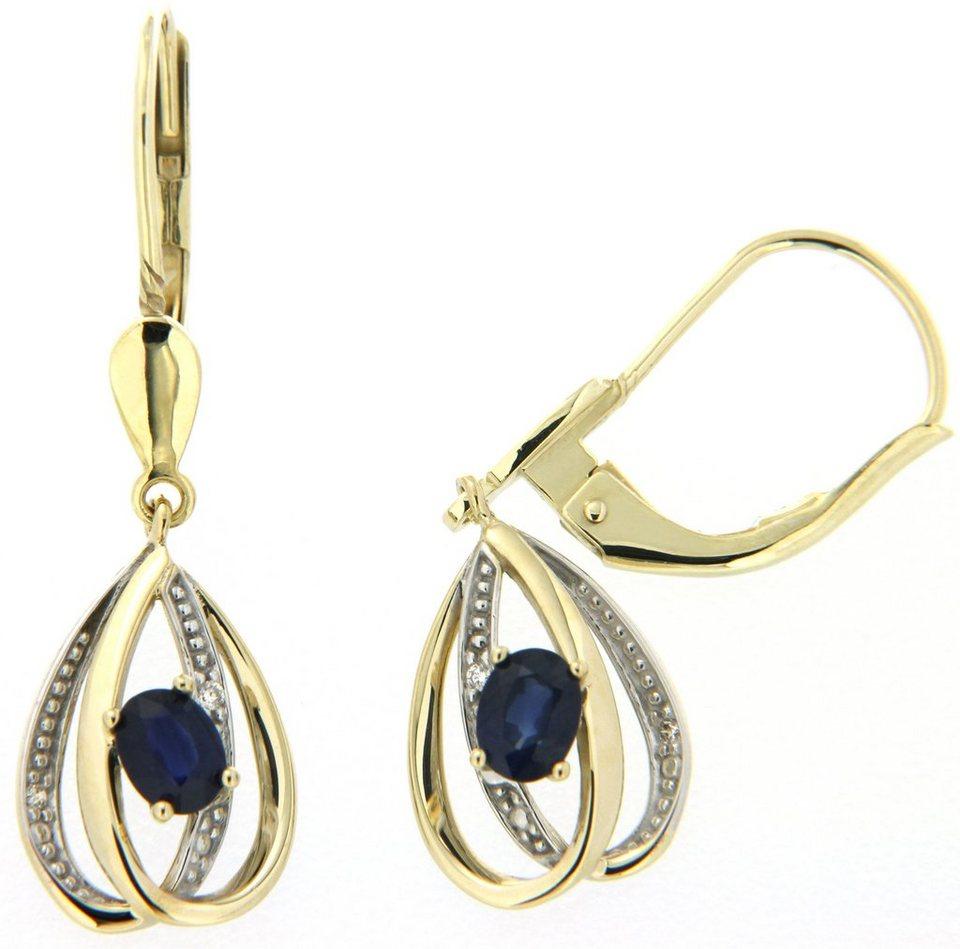 Vivance Jewels Paar Ohrhänger mit Saphiren und Brillanten in Gelbgold 333-bicolor-blau