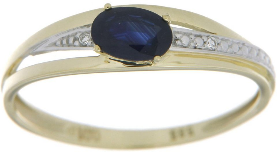 Vivance Jewels Ring mit Saphir und Brillanten in Gelbgold 333-biclor-blau