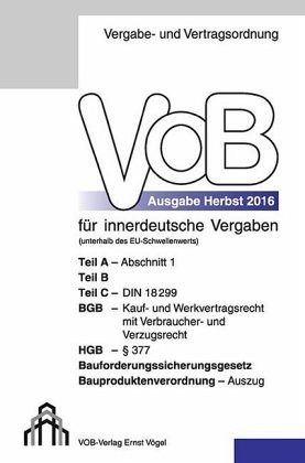 Broschiertes Buch »Vergabe- und Vertragsordnung (VOB) für...«