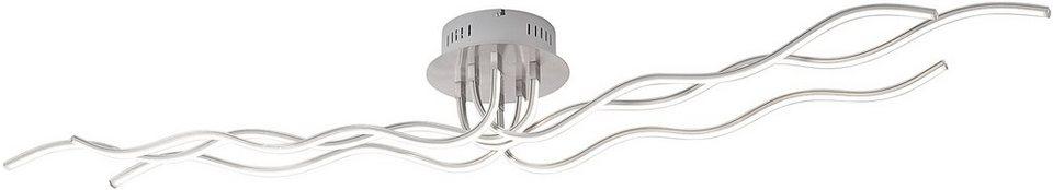Leuchten Direkt , LED-Deckenleuchte, 6 flg., »WAVE« in silberfarben