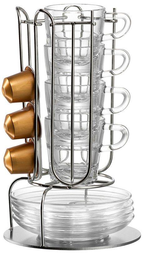 LEONARDO Tassenständer-Set, 9-teilig in Metall silberfarben / Glas