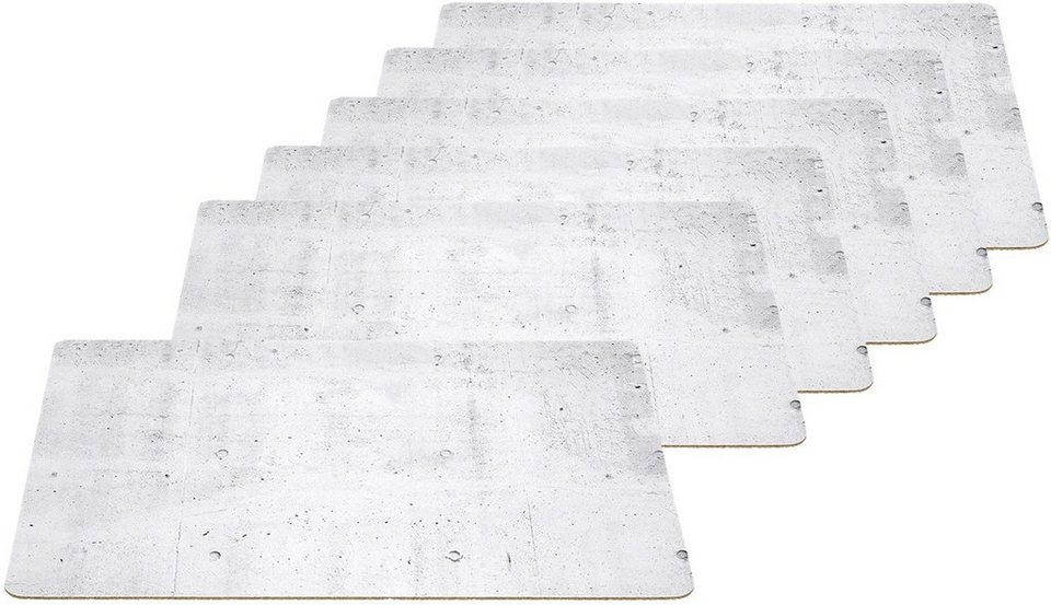 LEONARDO Platz-Set, Kork, Betonoptik in weiß/grau