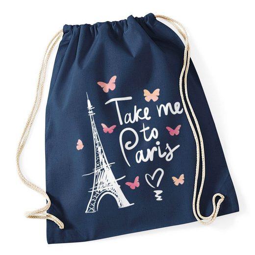 Autiga Turnbeutel »Turnbeutel Take me to Paris Eiffelturm Hipster Beutel Tasche Jutebeutel Gymsac Autiga®«