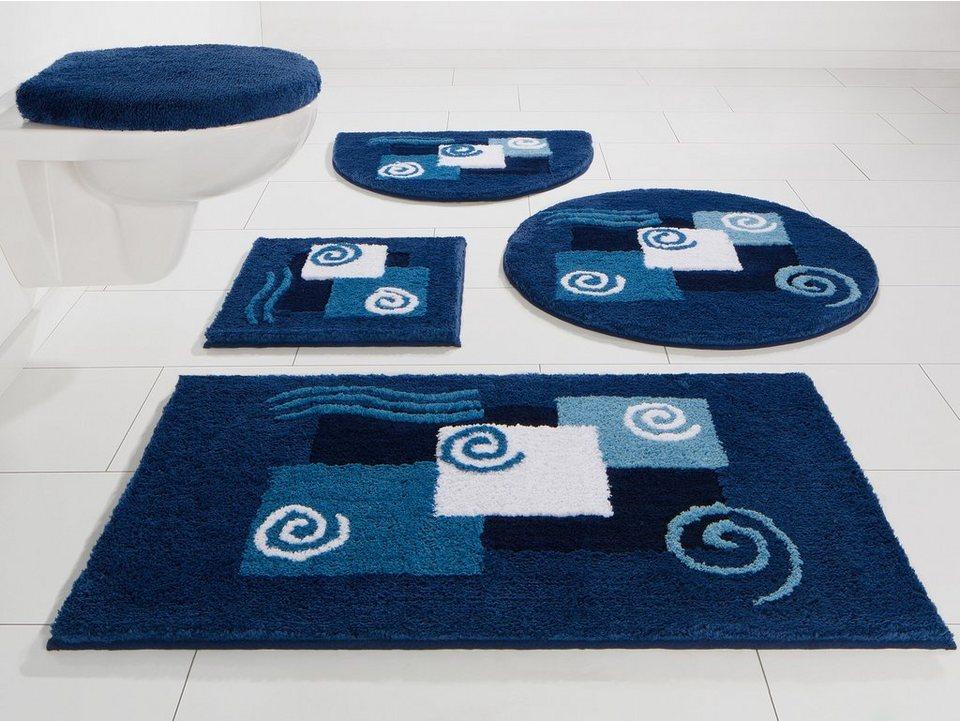 Badematte, my home, »Erth«, Microfaser, Höhe 15 mm, rutschhemmender Rücken in blau