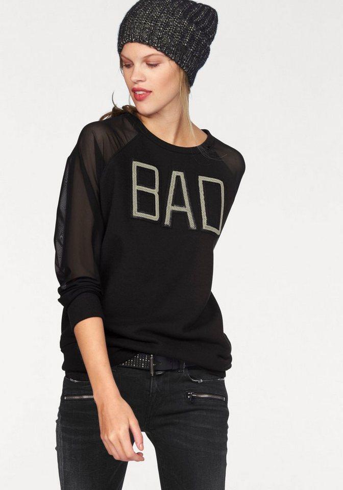 Replay Sweatshirt mit transparenten Ärmeln in schwarz