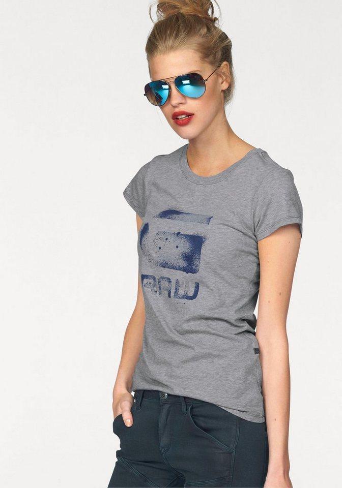 G-Star T-Shirt »Theagan slim« mit Frontprint in grau-meliert