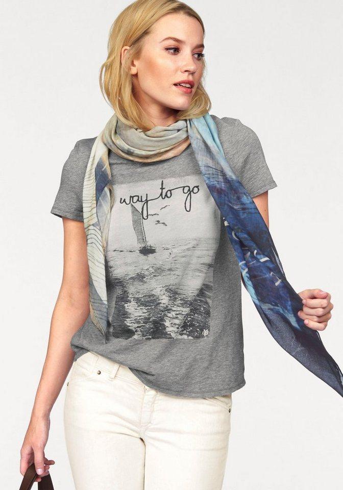 Marc O'Polo T-Shirt mit unterschiedlichen Prints in grau-meliert