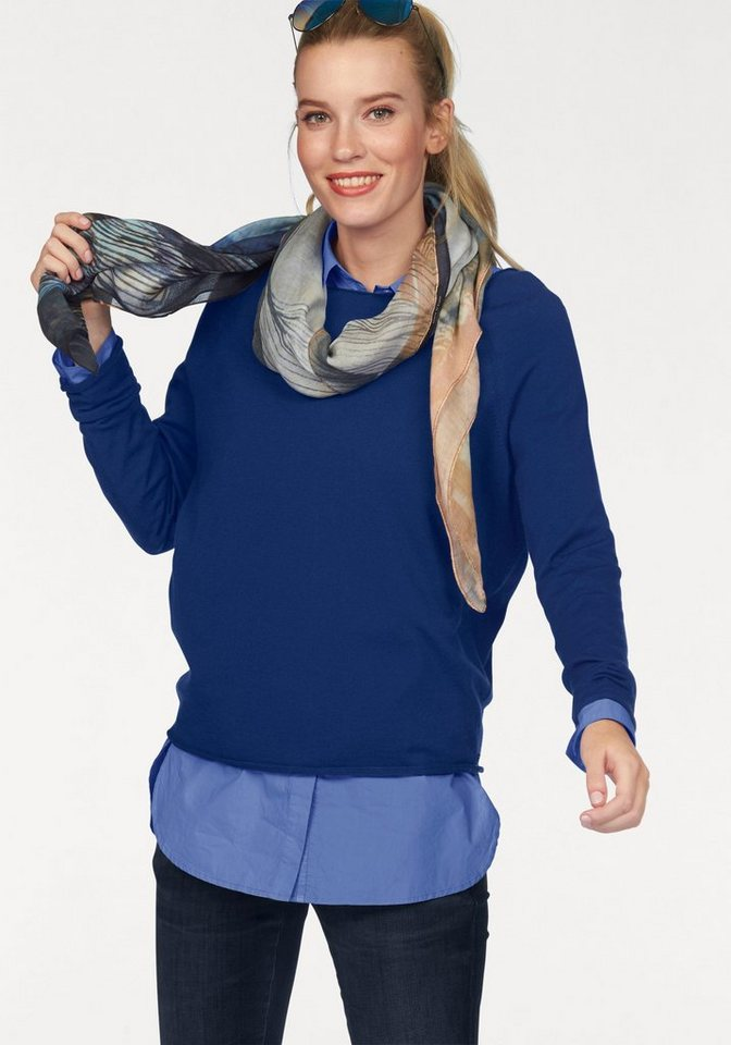 Marc O'Polo Wollpullover in leichter Boxy-Form in royalblau