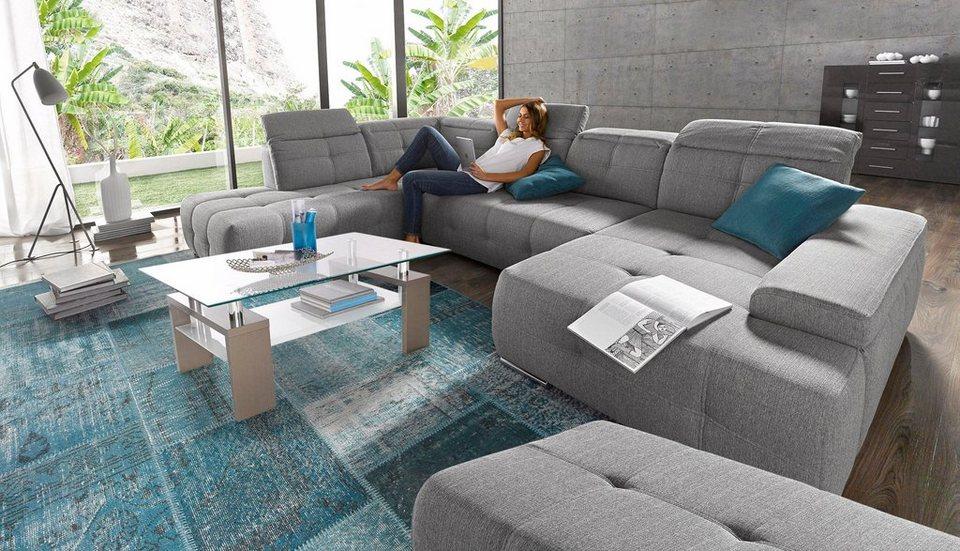 Wohnlandschaft, Sit&More, wahlweise mit Bettfunktion in grau