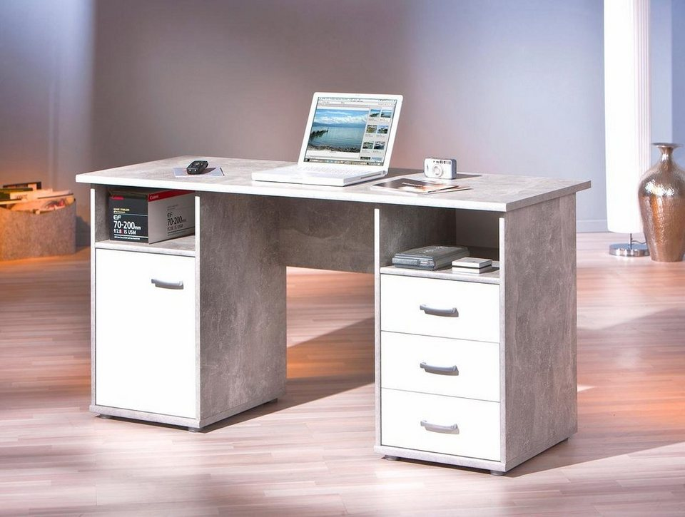 Schreibtisch »Florus« in betonfb./weiß