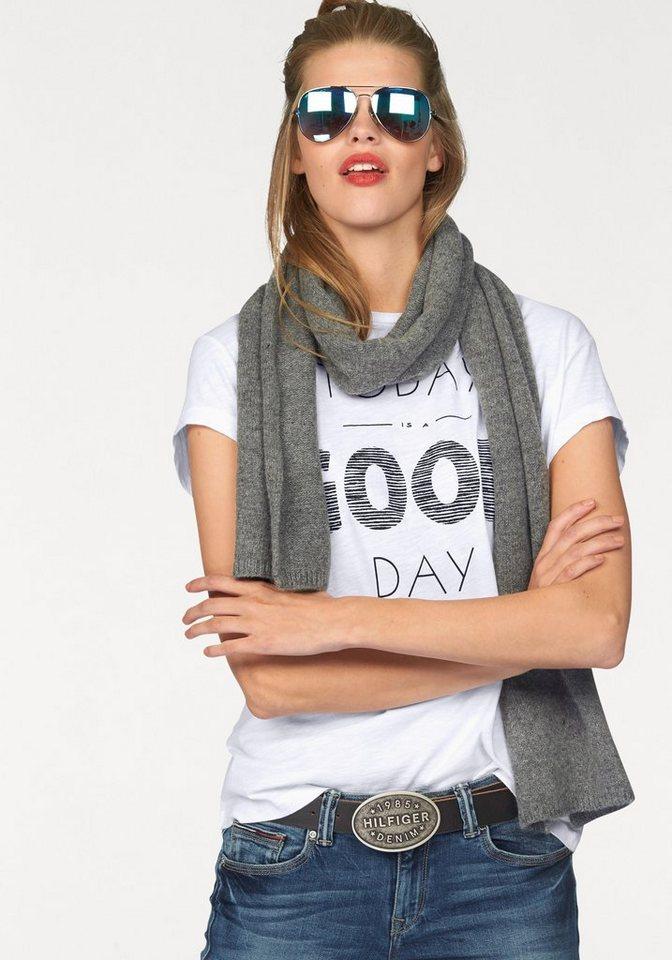 Hilfiger Denim T-Shirt mit coolem Glitzerdruck in weiß