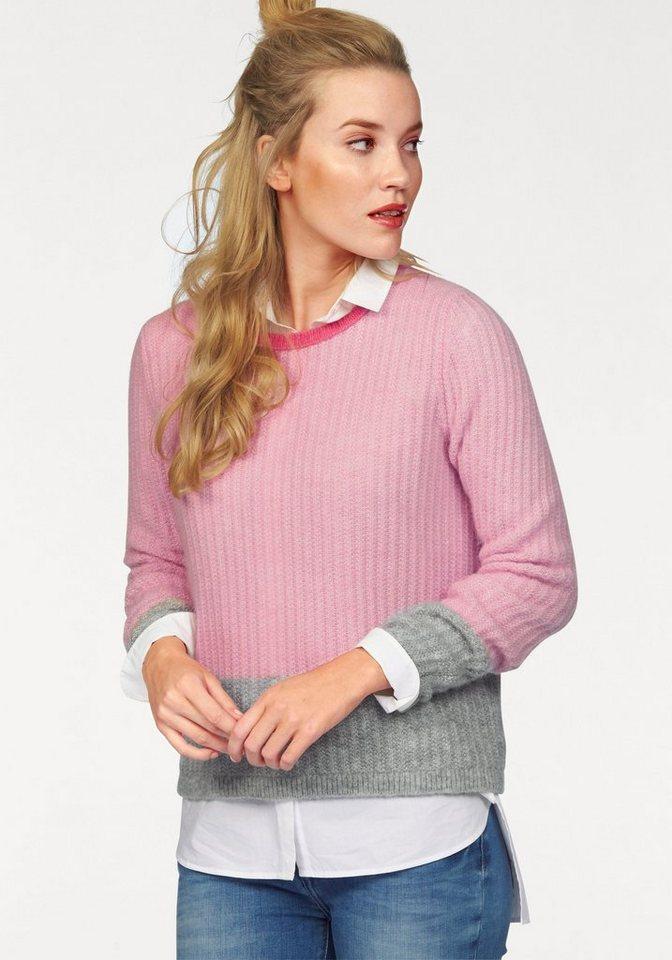 Tommy Hilfiger Wollpullover »Briana« im Colourblocking in rosa-grau