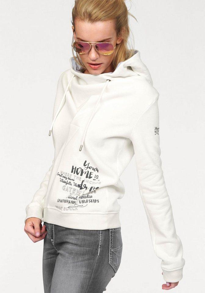 SOCCX Kapuzensweatshirt mit besonderer Kapuzenform in wollweiß