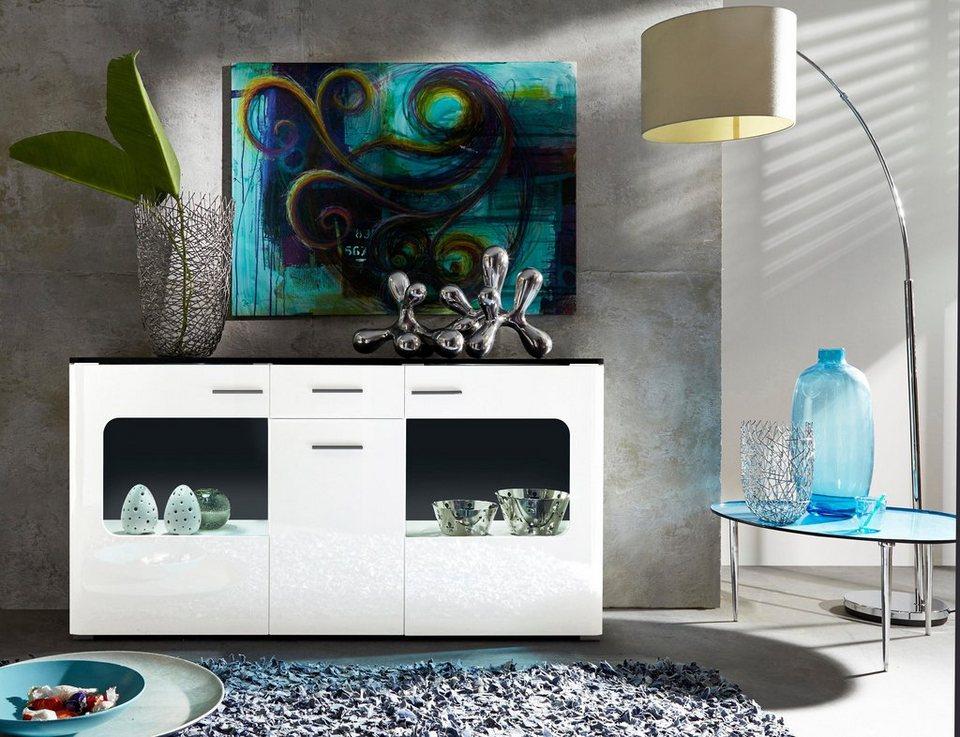 Sideboard, Breite 160 cm in weiß/weiß Hochglanz