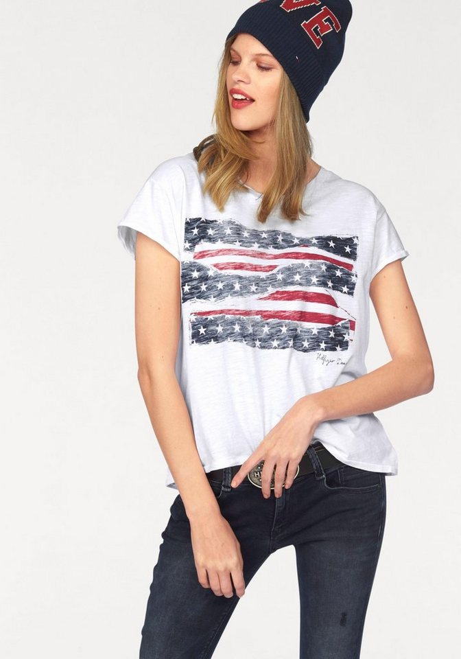 Hilfiger Denim T-Shirt mit coolem Flaggen-Print in weiß