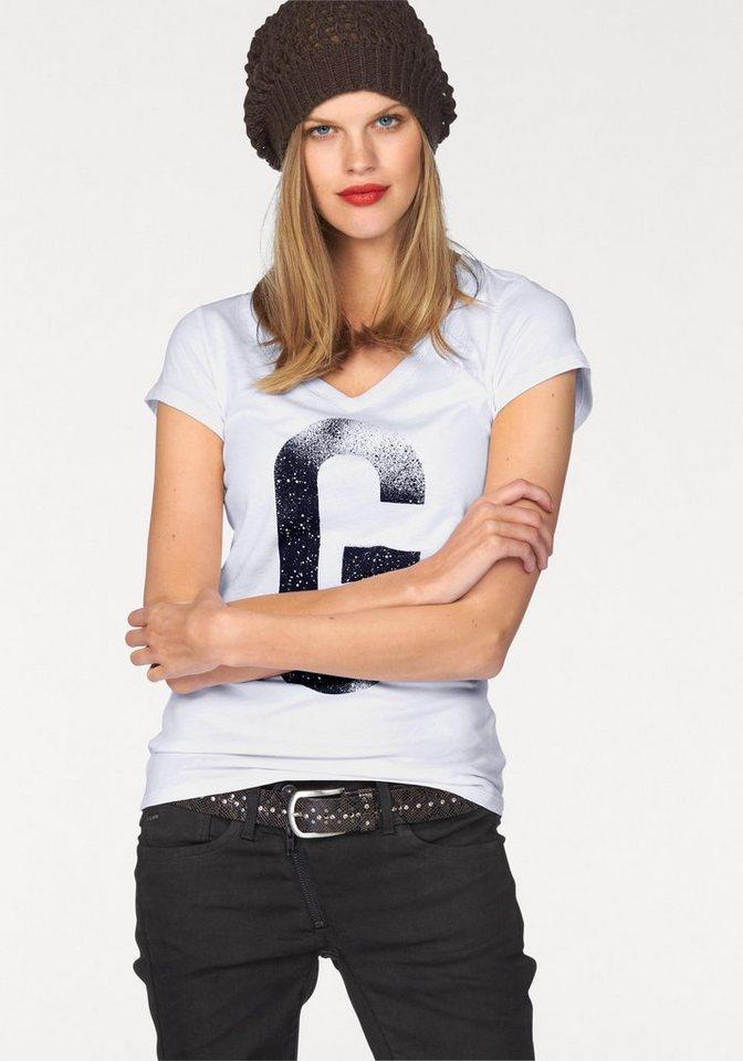 G-Star V-Shirt »Theagan slim« mit großem G-Print in weiß-schwarz