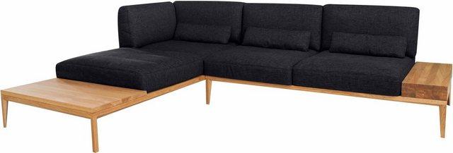 Sofas - ADA premium Ecksofa »TAVOLA«, mit eleganten Massivholz Elementen, mit Armlehnverstellung  - Onlineshop OTTO
