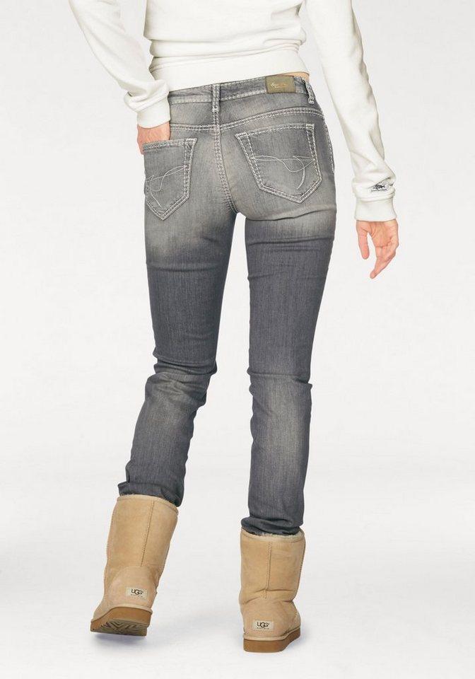 SOCCX Stretch-Jeans mit auffälliger Steppung in grey-used