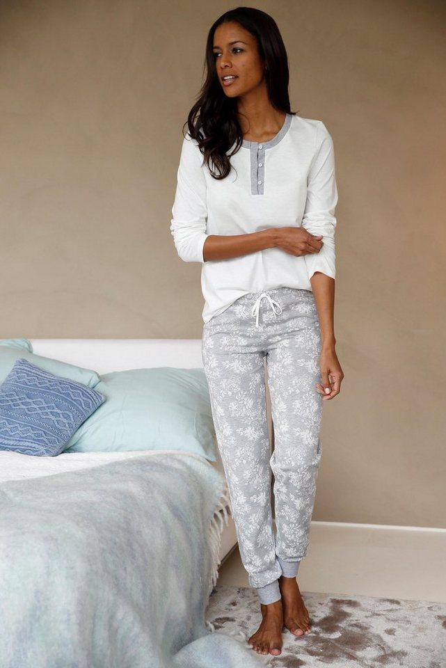 calida pyjama mit knopfleiste und gemusterter hose otto. Black Bedroom Furniture Sets. Home Design Ideas
